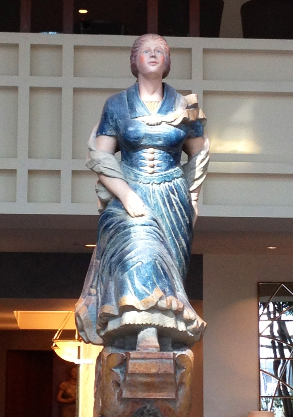 The Hilton lobby is decorated with these female figureheads that look like they came from the bow of a ship