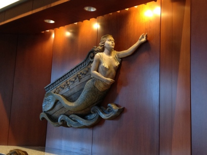 Mermaid in the lobby of the Hilton - Boston Logan