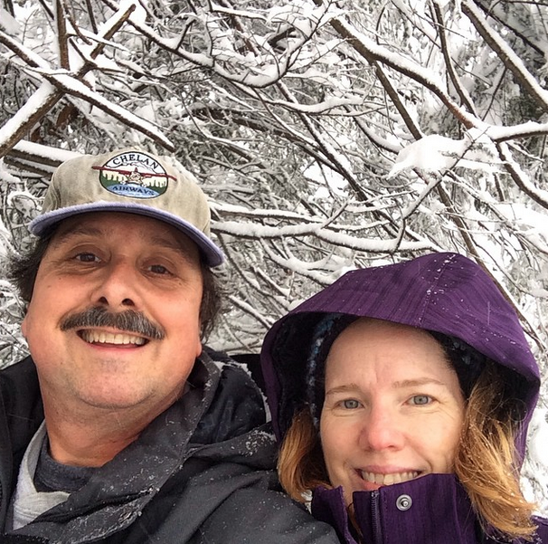 With my sweetheart enjoying an abundance of snow at Thanksgiving.
